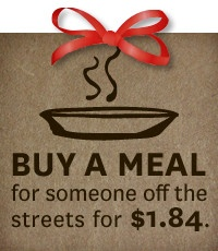 Buy a meal for someone in need this christmas for $1.84