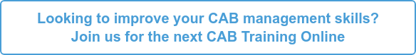 Looking to improve your CAB  management skills? Join us for the next CAB Training Online - March 2020