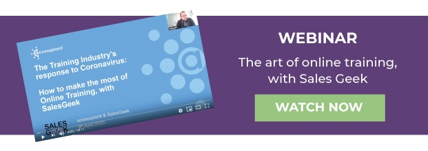webinar cta - the art of online training with salesgeek