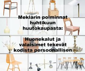Meklarin poiminnat huhtikuun huutokaupasta: huonekalut ja valaisimet tekevät kodista persoonallisen