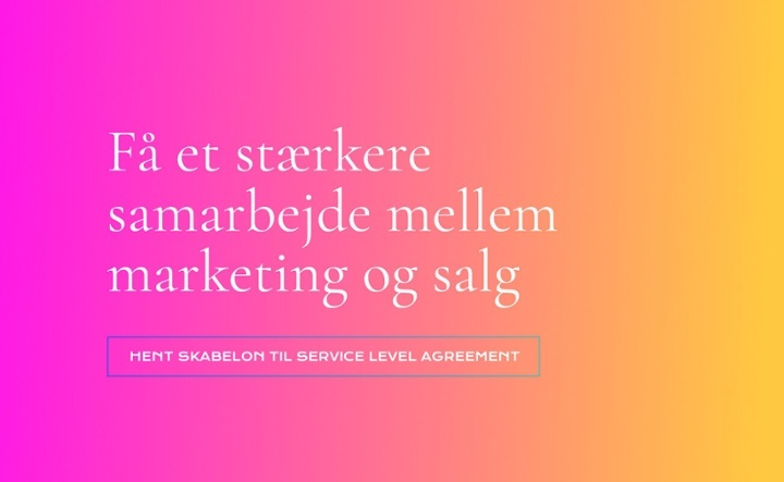 Service level agreement salg og marketing CTA