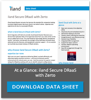 iland Secure DRaaS with Zerto Datasheet