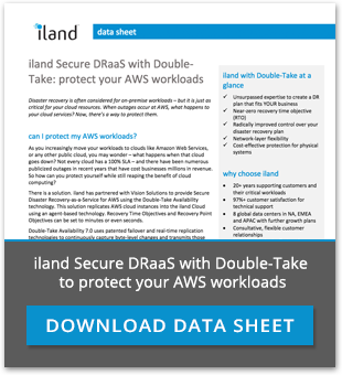 iland Secure DRaaS with Double Take protecting AWS workloads