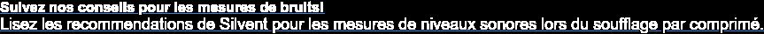 Suivez nos conseils pour les mesures de bruits!  Lisez les recommendations de Silvent pour les mesures de niveaux sonores lors  du soufflage par comprimé.