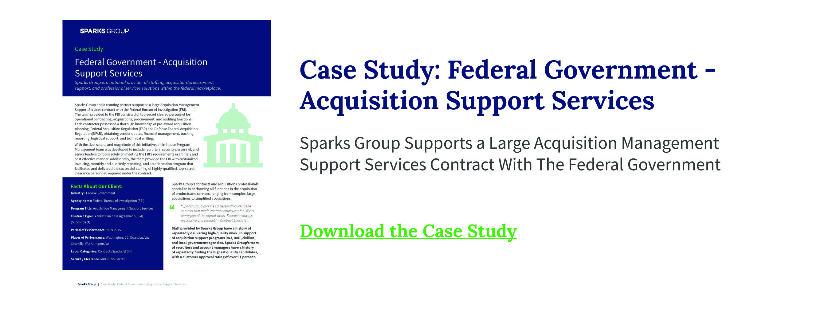 Case study: federal government - acquisition support services
