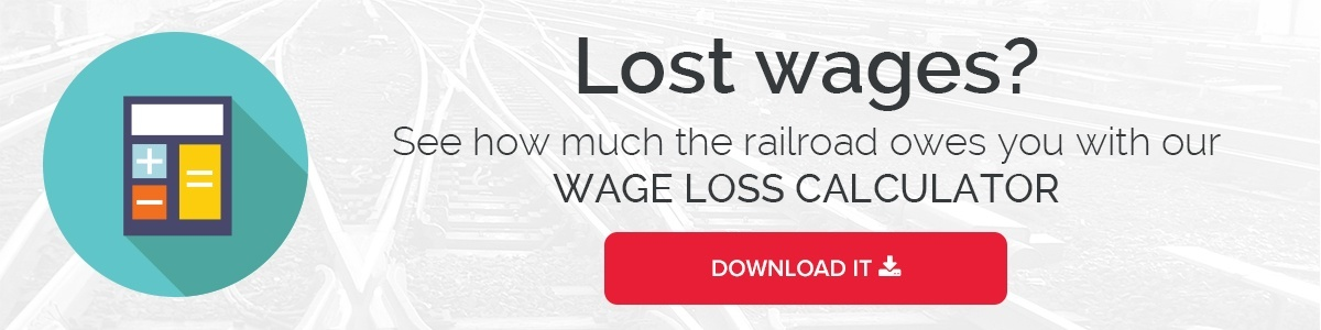 Find exactly how many dollars you lost when you were injured on the railroad.  Download our free wage loss calculator.