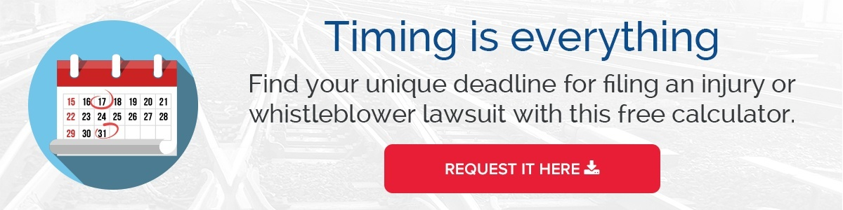 how long do i have to file my railroad lawsuit injury claim whistleblower claim
