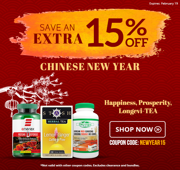 Save an extra 15% off on select products this Chinese New Year