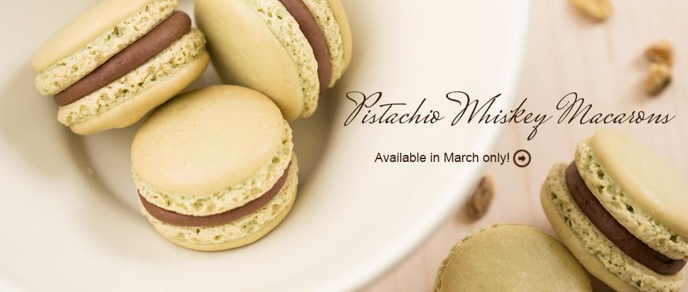 Pistachio Whiskey Macaron for St Patricks Day