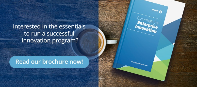 Call to action to download HYPE's brochure about the essentials for innovation management