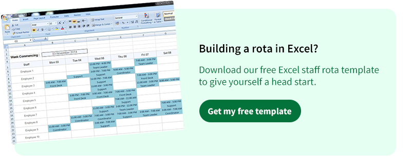 free excel rota template