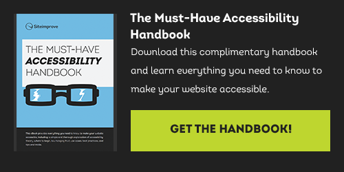 'The Must-Have Accessibility Handbook'. Download this complimentary handbook and learn everything you need to know to make your website accessible.