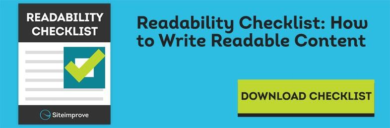 Download the Readability Checklist: How to Write Readable Content