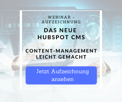 Webinaraufzeichnung HubSpot CMS