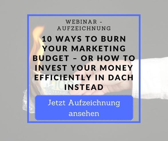 Webinar Aufzeichnung Burn Money