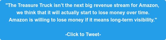"""""""The Treasure Truck isn't the next big revenue stream for Amazon,  we think that it will actually start to lose money over time. Amazon is willing to lose money if it means long-term visibility.""""   -Click to Tweet-"""