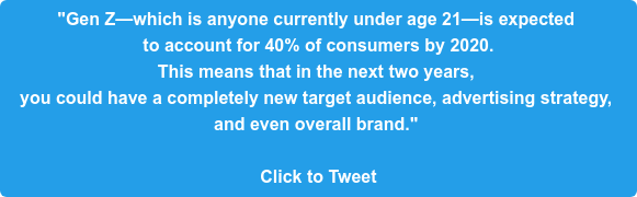 """Gen Z—which is anyone currently under age 21—is expected  to account for 40% of consumers by 2020.  This means that in the next two years,  you could have a completely new target audience, advertising strategy,  and even overall brand.""   Click to Tweet"