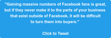 """""""Gaining massive numbers of Facebook fans is great,  but if they never make it to the parts of your business  that exist outside of Facebook, it will be difficult  to turn them into buyers.""""   Click to Tweet"""