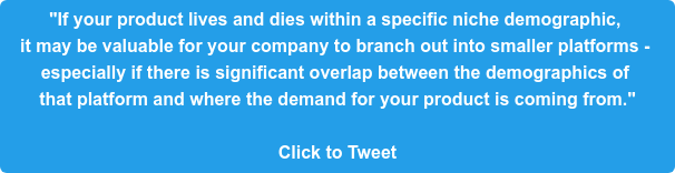 """""""If your product lives and dies within a specific niche demographic,  it may be valuable for your company to branch out into smaller platforms -  especially if there is significant overlap betweenthe demographics of  that platformand where the demand for your product is coming from.""""  Click to Tweet"""