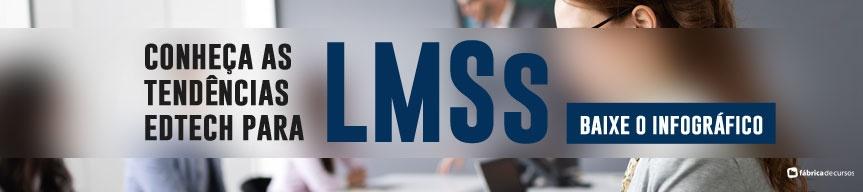 Baixo o infográfico completo, com as informações mais relevantes e tendências EdTech para LMSs e conheça os motores de mudança das empresas para mudança de plataforma, além de tendências, tempo de setup e muito mais.
