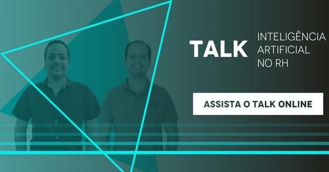 """Banner do talk """"Inteligência Artificial no RH"""", com um botão escrito """"Assista o talk online"""""""
