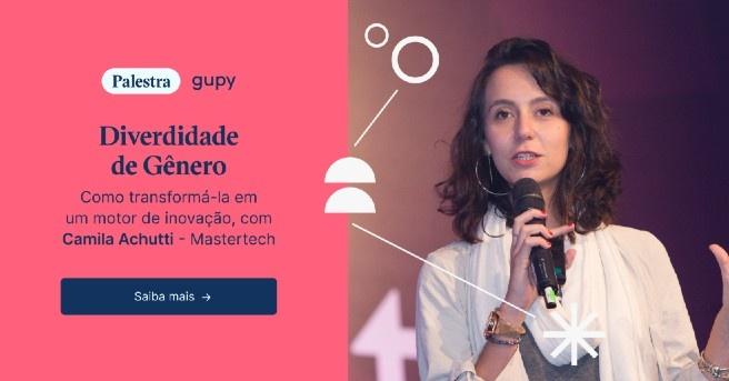 """Banner da palestra """"Diversidade de gênero, com Camila Achutti, Mastertech"""", com um botão escrito """"assista à palestra"""""""