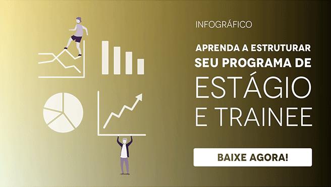 """Banner do infográfico """"Aprenda a estruturar seu programa de estágio e trainee"""", com um botão escrito """"baixe agora"""""""