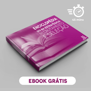 """Banner do ebook """"Enciclopédia do RH estratégico: recrutamento e seleção"""", com um botão escrito """"confira agora"""""""