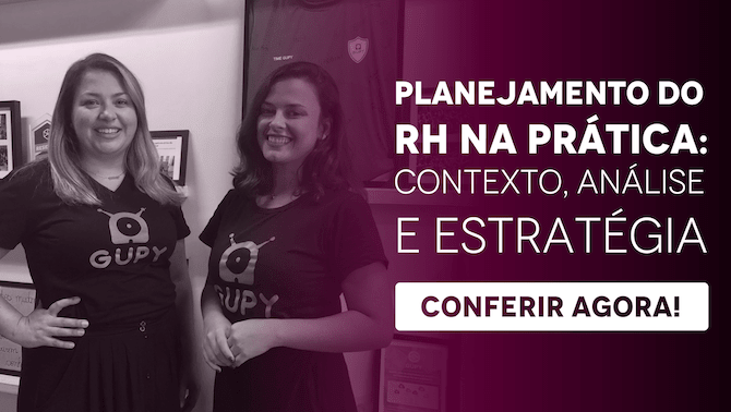 """Banner do ebook """"Planejamento do RH na prática: contexto, análise e estratégia"""", com um botão escrito """"conferir agora"""""""