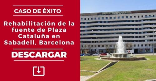 Rehabilitación de la fuente de Plaza Cataluña en Sabadell, Barcelona