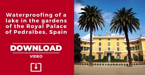 Waterproofing of a lake in the gardens of the Royal Palace of Pedralbes, Spain