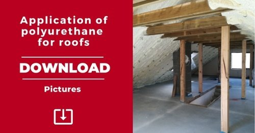 Pictures application of polyurethane for roofs