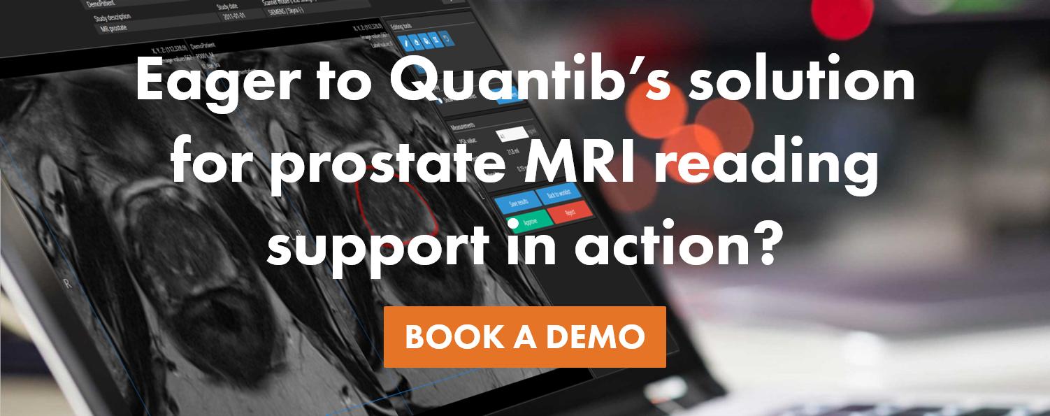 request a demo ad for AI prostate MRI software Quantib Prostate