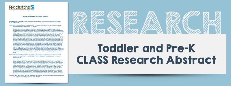 Toddler and Pre-K Research Summary