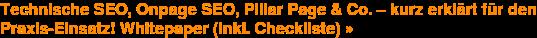 Technische SEO, Onpage SEO,Pillar Page & Co.– kurz erklärt für den  Praxis-Einsatz! Whitepaper (inkl. Checkliste) »