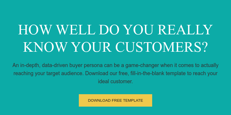 How well do you really know your customers?  An in-depth, data-driven buyer persona can be a game-changer when it comes to  actually reaching your target audience. Download our free, fill-in-the-blank  template to reach your ideal customer. Download Free Template