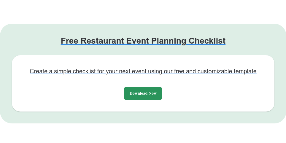 Free Restaurant Event Planning Checklist Create a simple checklist for your next event using our free and customizable  template Download Now