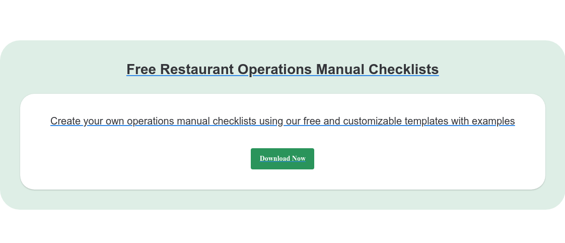 Free Restaurant Operations Manual Checklists Create your own operations manual checklists using our free and customizable  templates with examples Download Now