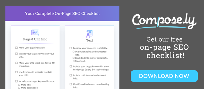 on-page SEO checklist banner