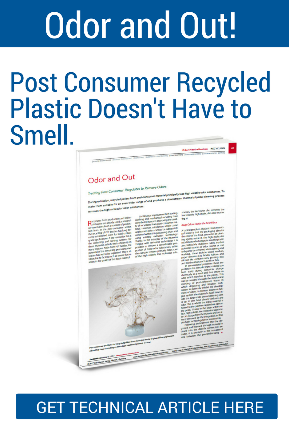 eliminate post consumer recycled plastic smell