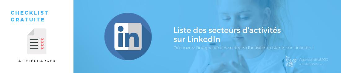 Liste secteur d'activités Linkedin