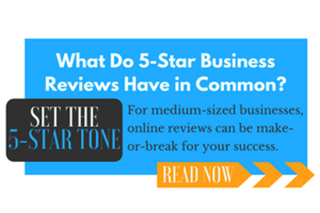 blue call-to-action button about 5-star business reviews