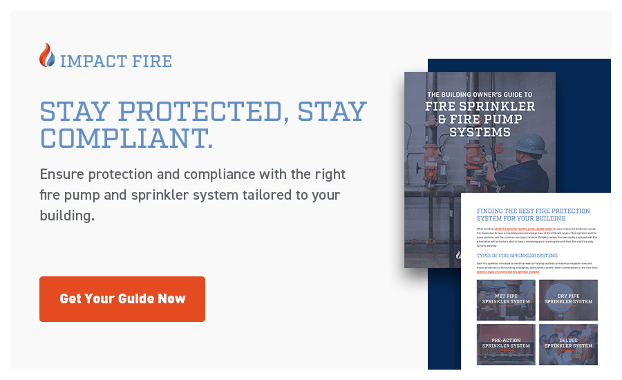 The building owner's guide to fire sprinkler and fire pump systems overlaid on blue background