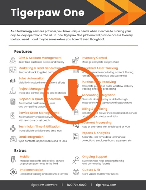 Download our Tigerpaw One Features Guide to learn more about streamlining your technology services business.