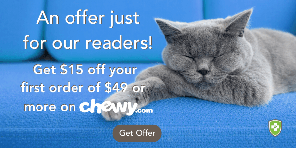 Get $15 off your first order of $49 or more on chewy.com!
