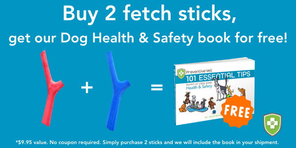 Promotion – purchase 2 fetch sticks and receive our Dog Health and Safety book for free!