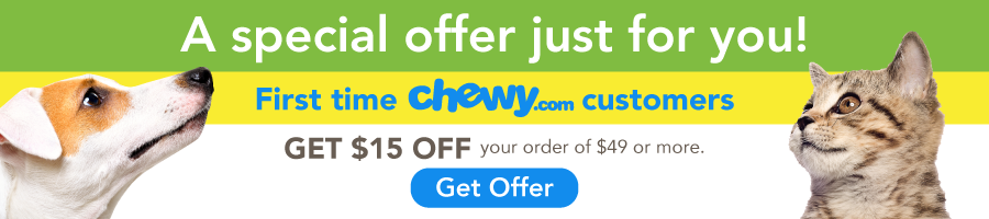 Get $15 off your first chewy order of $49 or more
