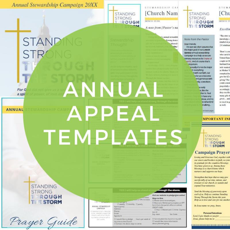Free church annual stewardship campaign appeal design templates