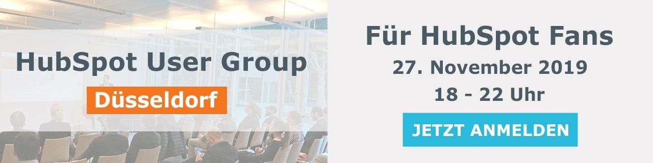 HubSpot User Group Düsseldorf am 27. November 2019, 18 bis 22 Uhr - für alle HubSpot Fans! Jetzt anmelden