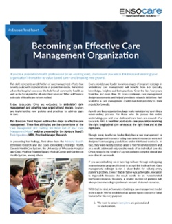Becoming an Effective Care Management Org Cover Page